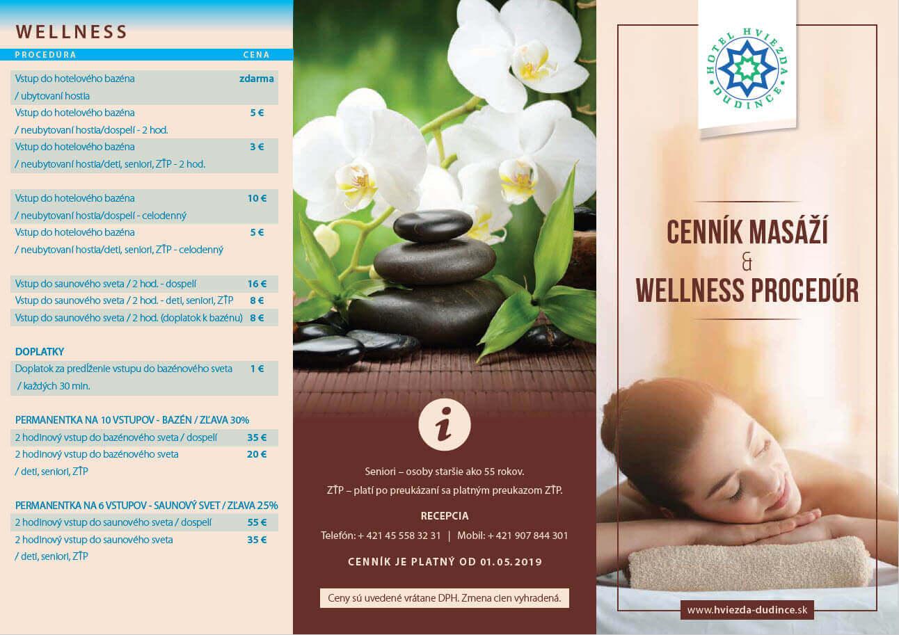 Cennik wellness Hotel HVIEZDA ***